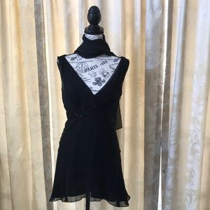 Black dressy Maggy London top with scarf
